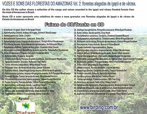 CD VOZES E SONS DAS FLORESTAS DO AMAZONAS, VOLUME 2, CONTRA-CAPA